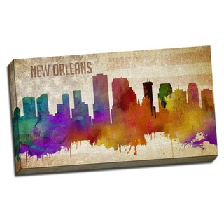 New Orleans Watercolor City Skyline 20x36 Printed on Ready to Hang Framed Canvas