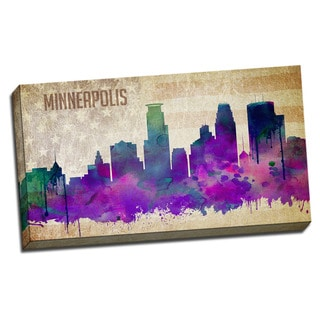 Minneapolis Watercolor City Skyline 20x36 Printed on Ready to Hang Framed Canvas