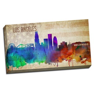 Los Angeles Watercolor City Skyline 20x36 Printed on Ready to Hang Framed Canvas