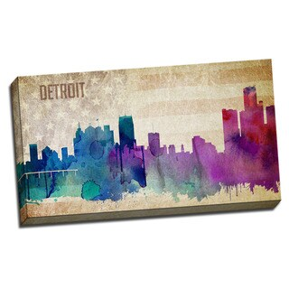 Detroit Watercolor City Skyline 20x36 Printed on Ready to Hang Framed Canvas