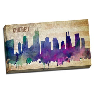 Chicago Watercolor City Skyline 20x36 Printed on Ready to Hang Framed Canvas