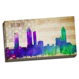 Atlanta Watercolor City Skyline 20x36 Printed on Ready to Hang Framed Canvas