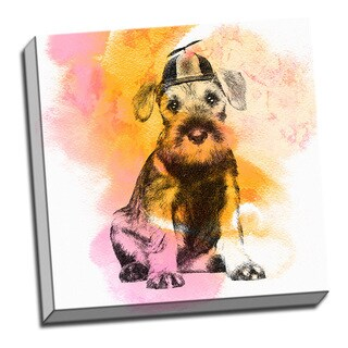 Vintage Schnauzer Puppy Watercolor 16x 16 Printed on Ready to Hang Framed Canvas