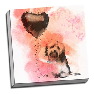 Vintage Havanese Puppy Watercolor 16x 16 Printed on Ready to Hang Framed Canvas