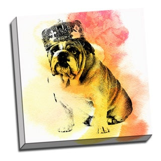 Vintage Bulldog Watercolor 16x 16 Dog Printed on Ready to Hang Framed Canvas