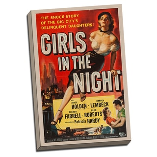 Girls in the Night Movie Poster Retro Art Printed on Ready to Hang Framed Canvas