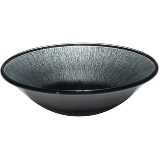 Silverstone Bursting Silver Round Glass Basin with Polished Interior and Textured Exterior