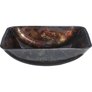La Caleche Deep Bronze Square Tempered Glass Basin Vessel Sink