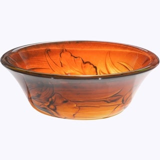 Vantage Flowery Burnt Orange and Yellow Round Tempered Glass Basin with Polished Interior and Exterior Vessel Sink