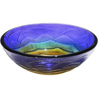 Verdin Translucent Blue, Green and Yellow Tempered Glass Basin with Polished Interior and Textured Exterior