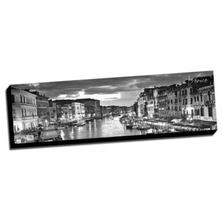 Black and White Panoramic Cities 14x48 Venice Printed on Ready to Hang Framed Canvas