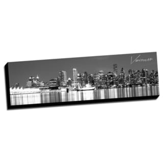 Black and White Panoramic Cities 14x48 Vancouver Printed on Ready to Hang Framed Canvas