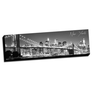 Black and White Panoramic Cities 14x48 New York 2 Printed on Ready to Hang Framed Canvas