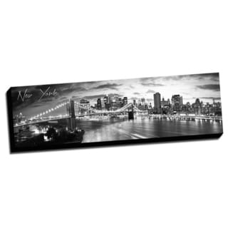 Black and White Panoramic Cities 14x48 New York 1 Printed on Ready to Hang Framed Canvas
