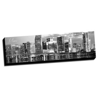 Black and White Panoramic Cities 14x48 Miami Printed on Ready to Hang Framed Canvas