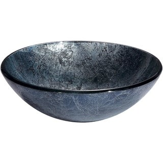 Zermatt Shimmering Blue and Silver Round Glass Basin