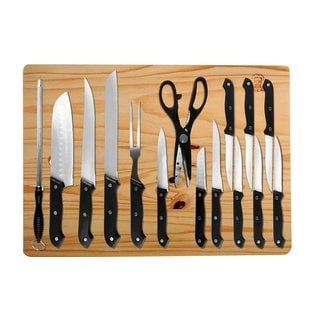16 Piece Kitchen Cutlery Sets - Stainless Steel Kitchen Knife Set w/ Cutting Board