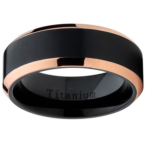 Oliveti Black Titanium and Rose Gold Men's Brushed Comfort Fit Band
