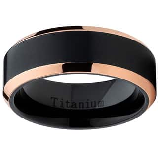 Oliveti Black Titanium and Rose Gold Men's Brushed Comfort Fit Band|https://ak1.ostkcdn.com/images/products/11673159/P18601180.jpg?impolicy=medium