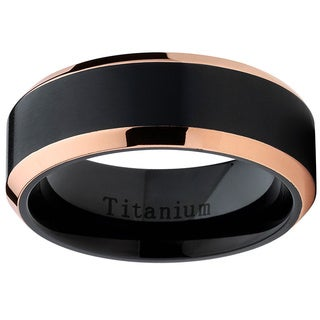 Oliveti Black Titanium and Rose Gold Men's Brushed Comfort Fit Band (More options available)