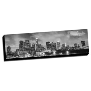 Black and White Panoramic Cities 14x48 Los Angeles Printed on Ready to Hang Framed Canvas
