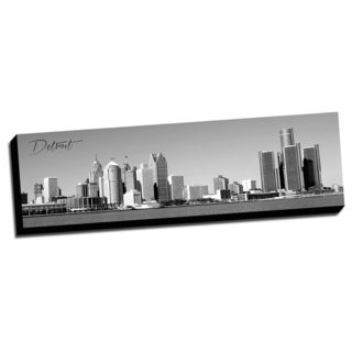 Black and White Panoramic Cities 14x48 Detroit Printed on Ready to Hang Framed Canvas