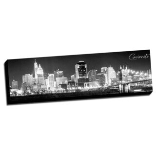 Black and White Panoramic Cities 14x48 Cincinnati Printed on Ready to Hang Framed Canvas