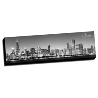Black and White Panoramic Cities 14x48 Chicago Printed on Ready to Hang Framed Canvas