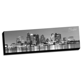 Black and White Panoramic Cities 14x48 Boston Printed on Ready to Hang Framed Canvas