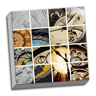 Chronus Time Piece Collage Clock Printed on Ready to Hang Framed Canvas
