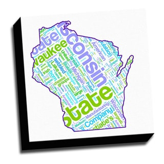 Wisconsin Typography 16x16 Printed on Ready to Hang Framed Canvas