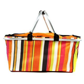 Insulated Folding Picnic Basket / Cooler with Handles (Option: Multi)