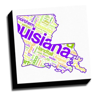 Louisiana Typography 16x16 Printed on Ready to Hang Framed Canvas