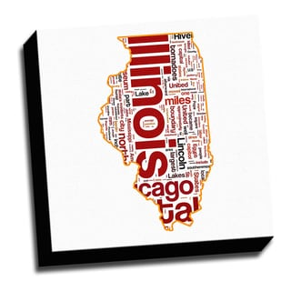 Illinois Typography 16x16 Printed on Ready to Hang Framed Canvas
