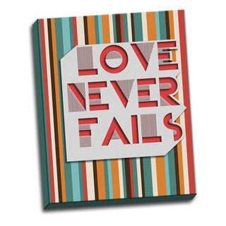 Never Fails 16 X 20 Quotes Printed on Ready to Hang Framed Canvas