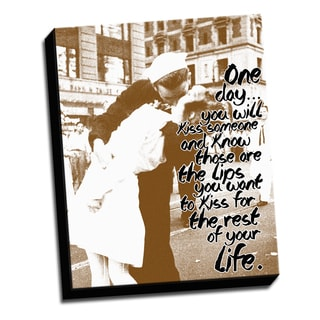 Kiss Sepia -16 X 20 Inspirational Quotes Printed on Ready to Hang Framed Canvas