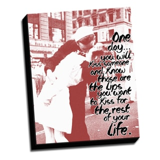 Kiss Red 16 X 20 Inspirational Quotes Printed on Ready to Hang Framed Canvas