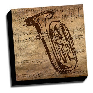 Tuba and Sheet Music Canvas Printed on Stretched Framed Ready to Hang Canvas