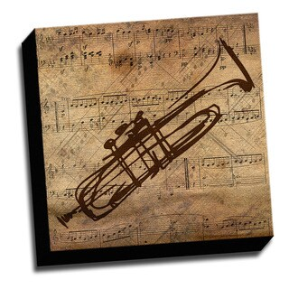Trumpet and Sheet Music Canvas Printed on Stretched Framed Ready to Hang Canvas
