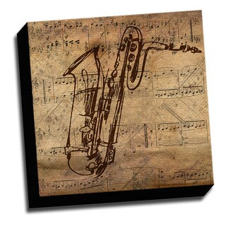 Saxaphone and Sheet Music Printed on Ready to Hang Framed Canvas