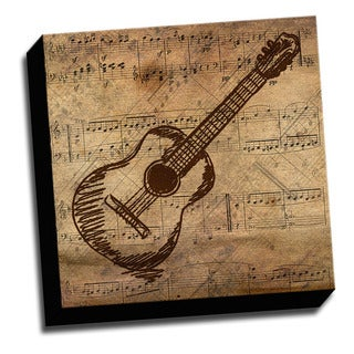 Guitar and Sheet Music Canvas Printed on Stretched Framed Ready to Hang Canvas