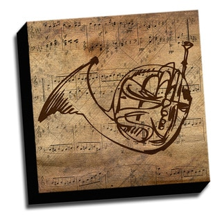 French Horn and Sheet Music Printed on Ready to Hang Framed Canvas