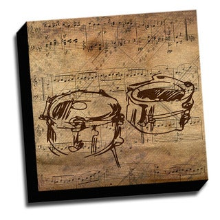 Drums and Sheet Music Canvas Printed on Stretched Framed Ready to Hang Canvas
