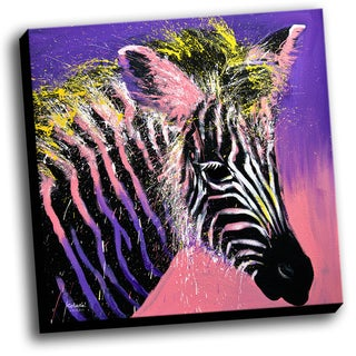 Zebra Colorful Art Printed on Stretched Framed Ready to Hang Canvas