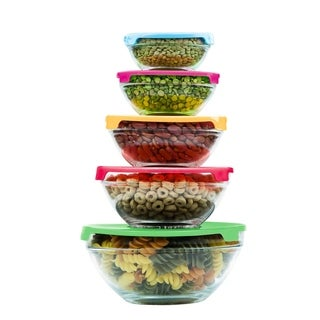 10 Pcs Glass Lunch Bowls Healthy Food Storage Containers Set With Lids