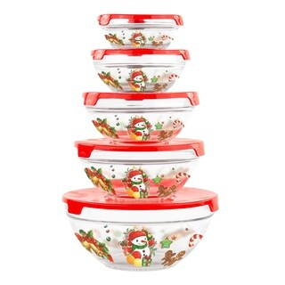 10 Piece Christmas Glass Bowls - Travel Food Containers with Lids