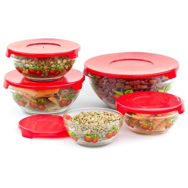 10 piece glass lunch bowls or food storage containers set with lids and apple design free shipping on orders over 45