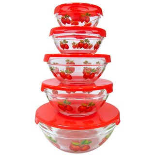 10 Piece Glass Lunch Bowls or Food Storage Containers Set With Lids and Apple Design