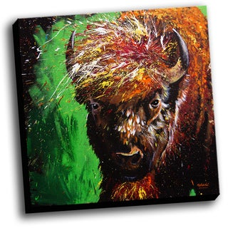Buffalo Colorful Art Printed on Stretched Framed Ready to Hang Canvas