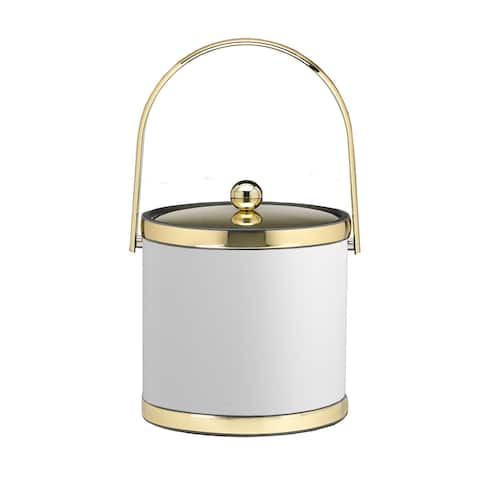 Kraftware Sophisticates with Polished Gold 3-quart Ice Bucket with Track Handle and Metal Cover